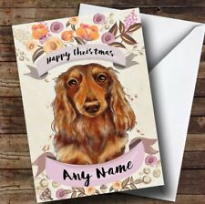 Rustic Gold Dog Long Haired Dachshund Personalised Cute Christmas Card