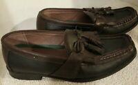 Robert David #054632, Brown Leather, Woven Tassle Loafer Shoes, Men's, US 8.5D