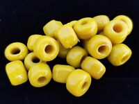 72 Glass CROW BEADS Mustard Yellow Ochre LOT 9mm Pony RONDELLES DIY