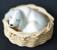 Vintage Szeiler Ceramic Pottery Puppy Sleeping in a Basket. Made in England