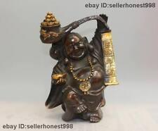 "9"" China Bronze Gild Attract Wealth Yuan Bao dragon Maitreya Buddha Statue"