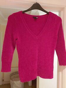 Ladies Jumper H&M Size Medium V-Neck Velour Pink Purple 3/4 Sleeves