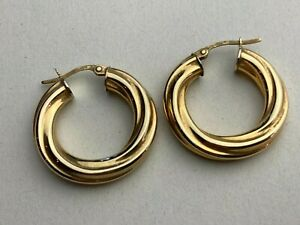 9ct .375 Yellow Gold Thick Twisted Creole Hoop Earrings Available Worldwide