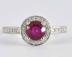 R199 Genuine 9K or 18K Gold Natural Ruby & Diamond Halo Engagement Ring in yr sz