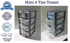 New Plastic 4 Drawer Tower Storage Box Unit Makeup Organiser Kitchen * Small