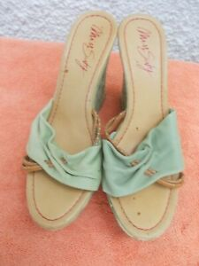 MISS SIXTY GREEN & BROWN LEATHER & FABRIC WEDGE HEELED SHOES-SZ 40/9 VGC