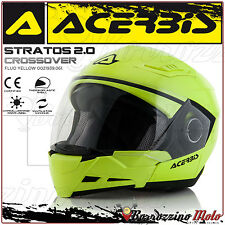 CASQUE ACERBIS STRATOS 2.0 CROSSOVER INTEGRAL/JET JAUNE MOTO SCOOTER TAILLE L