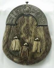 Scottish Kilt Sporran Seal Skin Celtic Cantle Antique/Formal Seal Skin Sporran