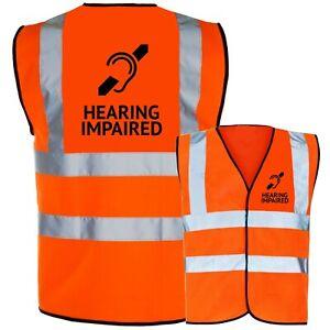 Hearing Impaired Printed Hi Vis Safety Vest Hi Viz Waistcoat Tabard Deaf Aid NEW