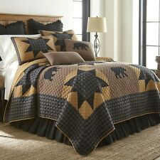 Donna Sharp Black Bear Paw Star Quilted Rustic Country Lodge Queen Quilt & Throw