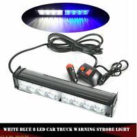 White Blue 8 LED Car Emergency Hazard Warning Traffic Advisor Strobe Light Bar
