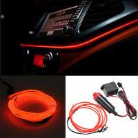 Red 2M 12V EL Wire Car Interior Decor Neon Strip Fluorescent Cold light Tape