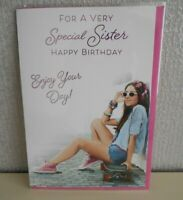 For a very Special Sister Happy Birthday enjoy your Day card Sat on a Skateboard