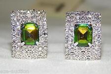 Silver Tone W. Green & Clear Rhinestone Crystal Clip Earrings