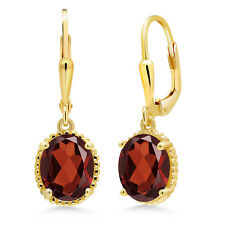 3.60 Ct Oval Red Garnet 18K Yellow Gold Plated Silver Earrings