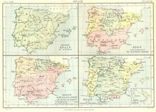 SPAIN. Hispania; 1200 11C 14C 15C; Italian Possessions of Aragon. 1898 old map