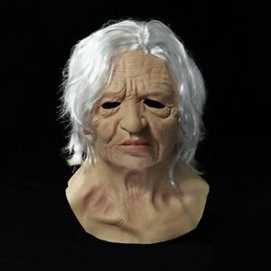 Old Woman Mask Halloween Creepy Wrinkle Face Mask Latex Cosplay Party Props A