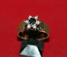 Secondhand 18ct Yellow Gold Sapphire & Multi Diamond Cluster Ring Size N