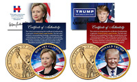 Donald TRUMP & Hillary CLINTON 2016 Presidential Golden $1 Dollar US 2-Coin Set