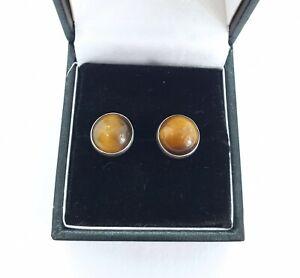Natural Gemstone Earrings Tigers Eye Stud Earrings 10mm Tiger Eye Studs With Halo Vintage Jewellery Sterling Silver