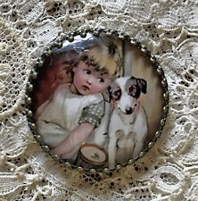 """LITTLE GIRL TERRIER DOG Glass Dome BUTTON 1 1/4"""" Vintage Jack Russell? Puppy"""