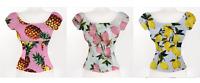 Women Pink Pineapple Lemon Print Peasant Tops Rockabilly Blouse Pinup Shirt