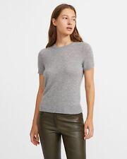 Theory Cashmere Sweater Short Sleeve Basic Tee Blue Sky $255 - Small Hole