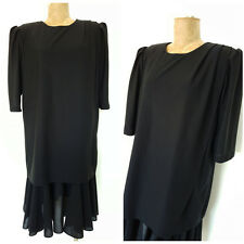 Vintage 80s Puff Sleeve Dress Size XLarge Black Ruffle Cocktail Party Formal