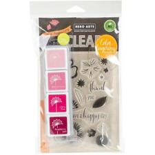 New HERO ARTS CLEAR RUBBER STAMP LAYERING HAPPY DAY FLOWERS BUNDLE INK & STAMPS