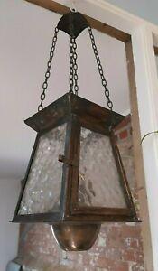 Antique Arts & Crafts Period Copper / Glass Hall Lantern Oil Lamp Font