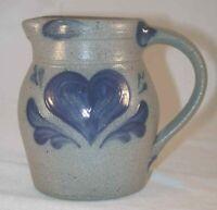 Rowe Pottery Cambridge Wisconsin Salt Glazed Stoneware Creamer Cobalt Blue Heart