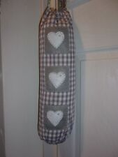 Grey Gingham Carrier Bag Holder/Dispencer  Homecrafted Shabby Chic  b