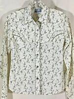 Panhandle Slim snap shirt size medium off white floral womens retro western wear