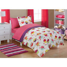Mainstays Cupcake Girls Full Bed Set Comforter Fitted Flat Sheet Pillowcase Sham