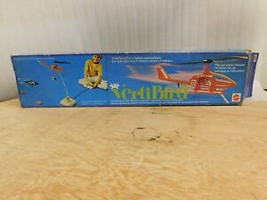 Vintage 1971 Mattel VERTIBIRD Helicopter Set w/Blue Box for Parts or Repair