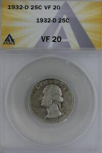 1932-D  .25  ANACS  VF 20   Washington Quarter, Silver 25 Cents