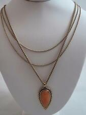 Lucky Brand gold tone triple strand~orange stone necklace, NWT