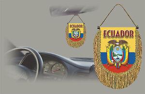 ECUADOR REAR VIEW MIRROR WORLD FLAG CAR BANNER PENNANT