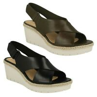LADIES CLARKS BIANCA CROWN BUCKLE SLINGBACK SMART LOW WEDGE