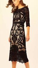 PHASE EIGHT ANNA BLACK LACE NUDE PENCIL BODYCON MIDI DRESS 10 NWOT £135