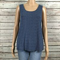 J. Jill Wearever Collection Stripe Print Tank Top Shirt Petite MEDIUM Blue Navy