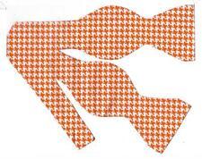 Houndstooth Bow tie / Orange & White Houndstooth / Self-tie Bow tie