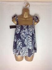 NEW TAGS UK 10 NEW LOOK BLUE WHITE STRAPPY TIE SLEEVELESS CAMISOLE BLOUSE TOP