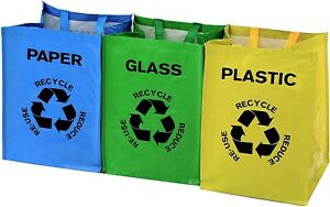 3pk 53L Recycle Bags Colour Coded Plastic Glass Paper Recycling Storage Bin Bag