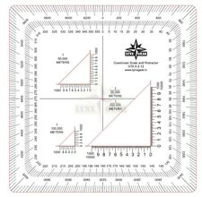 Map Coordinate Scale and Protractor, Graphic Training Aid for work with maps