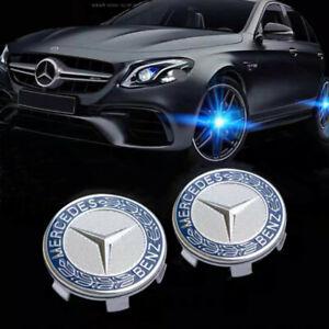 4X75mm Floating LED Wheel Rim Center Caps Fit For Mercedes Benz Emblem Logo Blue