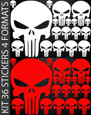 Punisher 36 Stickers KIT formats A4 Custom autocollant Skull decal - 13 coloris