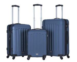 Koffer Blau Hartschale Ultra Leicht Trolley Case Tasche 4 Rollen M L XL wähbar