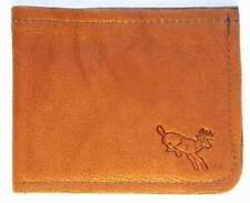 Brown LEATHER Buckskin Whitetail Bi Fold Wallet Hand Crafted Navy Veteran