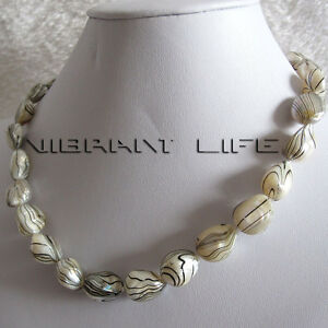 """18"""" 12-13mm White With Black Water Wave Freshwater Mother of Pearl Necklace UE"""